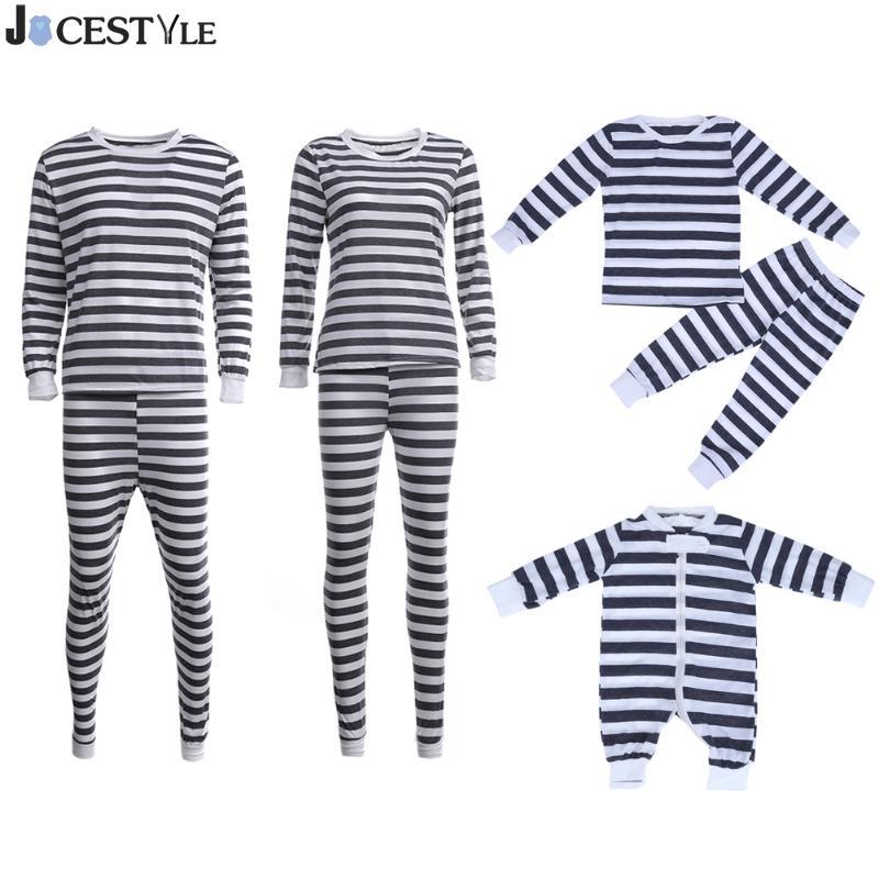 Jocestyle 2 шт./компл. домашняя пижама Семья мать отец ребенка в полоску пижамы Топ + Брюки для девочек ...