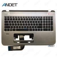 Original Upper Case for HP ENVY 15 K Palmrest Top Cover With US Keyboard Bezel 763578 001 Silver