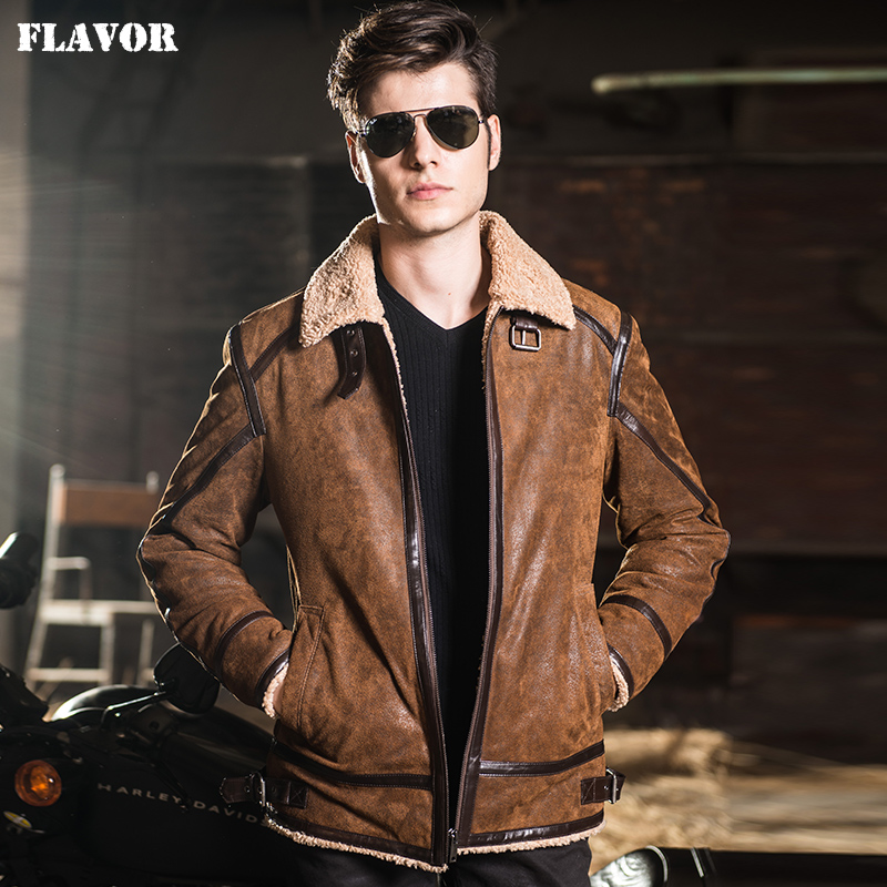 2016 Men's Real Leather Jacket Fur Motorcycle Pigskin Genuine Leather Jacket Men Leather Coat