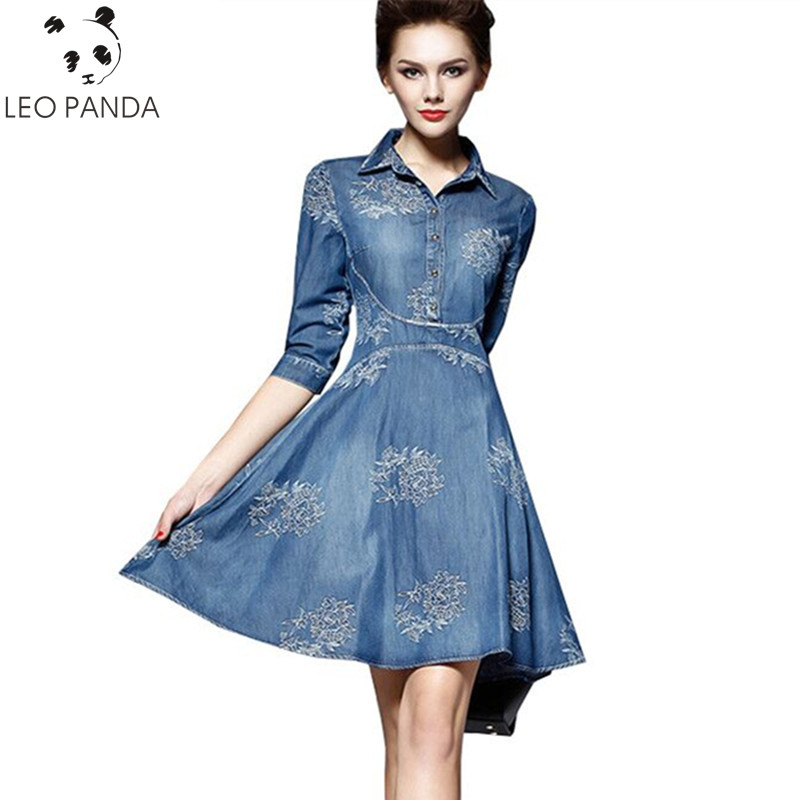 US $28.21 43% OFF|2019 New Spring Summer Embroidery Fashion Denim Dress  Plus Size Women Elegant Slim Cowboy Boutique Female Jean Dresses LX46-in ...