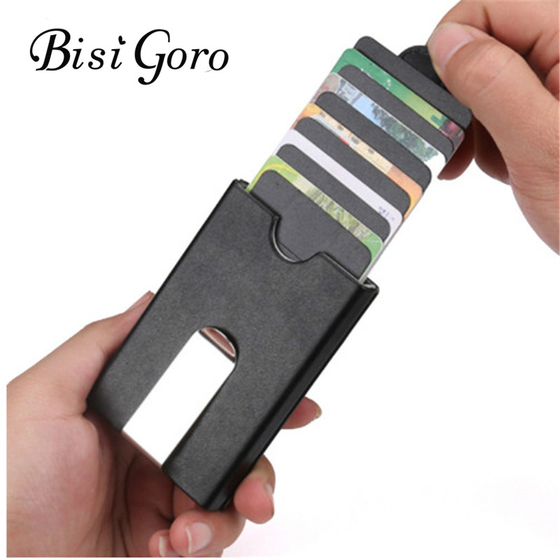 Bisi Goro 2019  Business Anti-theft ID Credit Card Holder Stacked Drawing Card Package  Minimalist Wallet  Card Wallet Case