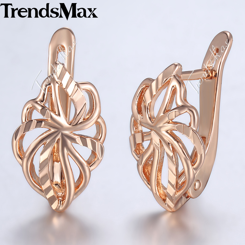 Trendsmax Earrings For Women Girls 585 Rose Gold Leaf Shaped Stud Earring Womens Fashion Party Jewelry 2018 KGE164