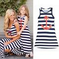 Summer Fashion Family Clothes Navy Mother Daughter Dresses Long Pencil Dress Sleeveless Stripped Filha Da Mae Beached Sundress