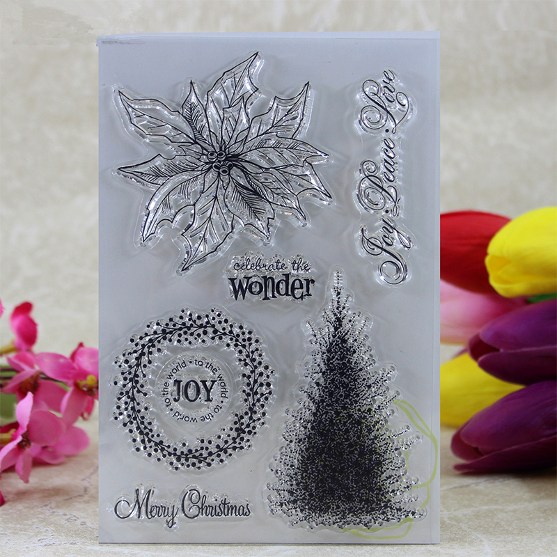 YLCS123 Flower Silicone Clear Stamps For Scrapbooking DIY Album Paper Cards Making Decoration Embossing Rubber Stamp 10 5x15 5cm in Stamps from Home Garden