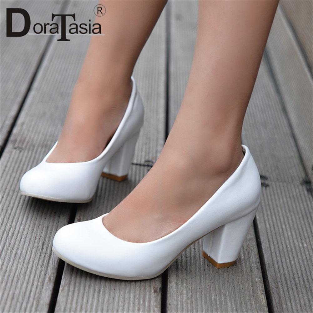 DoraTasia 2019 New Solid Square High  Heels Round Toe Shallow Shoes Woman Casual Office Ol Spring Autumn Pumps Plus Size 31-47