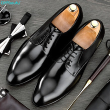 QYFCIOUFU 2019 Handmade Italian Vintage Formal Shoes Designer Wedding Party Male Dress Shoe Genuine Leather Men Oxford