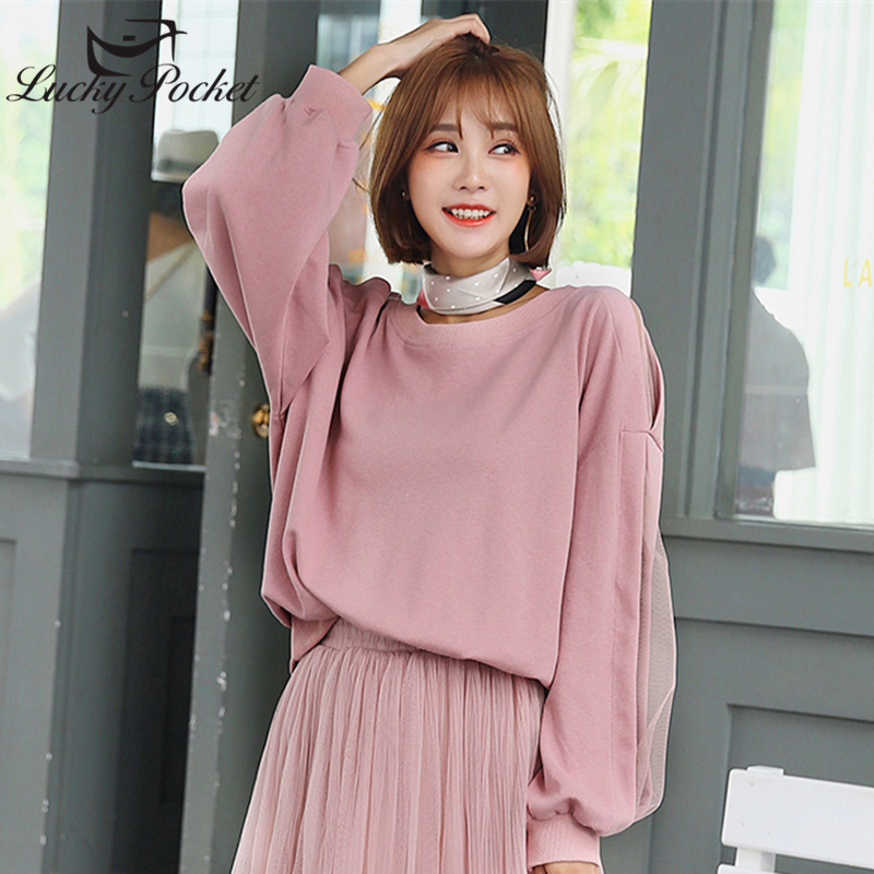 Spring Auturm Female Mesh Stitching Pink Sweatshirt Women Long Sleeve Cotton Pullovers Korean O-Neck Loose Casual Short Top Q515