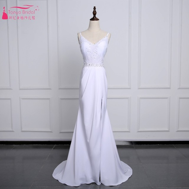 Backless Mermaid Long Simple Lace Wedding Dresses Side Slit Sexy Chiffon  Skirt Sweep Train Bohemian Bride Dress with Bow 0d236553984a