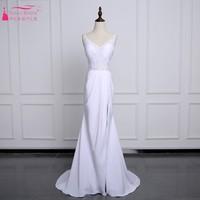 Backless Mermaid Long Simple Lace Wedding Dresses Side Slit Sexy Chiffon Skirt Sweep Train Bohemian Bride Dress with Bow