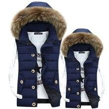 new Fashion Casual Men Vests Waistcoat 2018 Autumn Winter Down Cotton Fur Collar Vest Male Sleeveless Jackets Hooded Coats цена