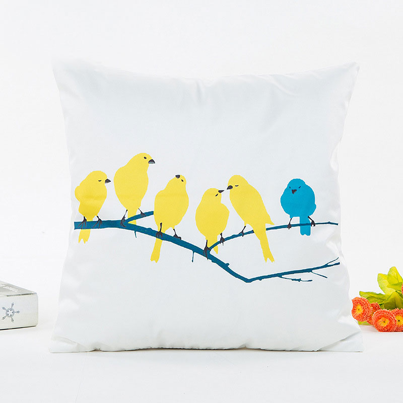 Yellow Bird Pillow Case Silk Cushion Cushion Chair Cocktail House Home Office Decorative Bird Geometric Pattern Pillow Case Patterned Pillow Cases Pillow Casepillow Case Pattern Aliexpress