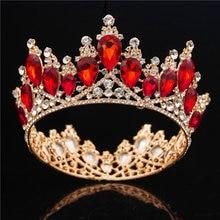 الباروك كريستال تاج الزفاف الملكة تيارا الإكليل حفلة موسيقية الزفاف الشعر مجوهرات التيجان و التيجان عقال رئيس الحلي