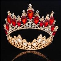 Baroque Gold Bride Crown Queen King Big Crown Tiara Prom Diadem Wedding hair jewelry Tiaras and Crowns Headband Hair Ornaments