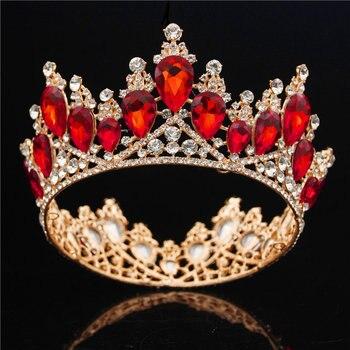 Corona de novia de oro barroco reina rey corona grande Tiara de graduación diadema de boda joyería de pelo Tiaras y coronas diadema adornos para el cabello