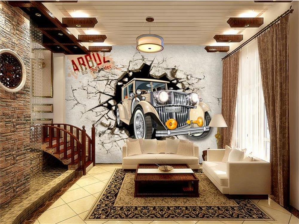 ④3D wallpaper/custom photo HD mural/Car break 3d character/TV/sofa ...