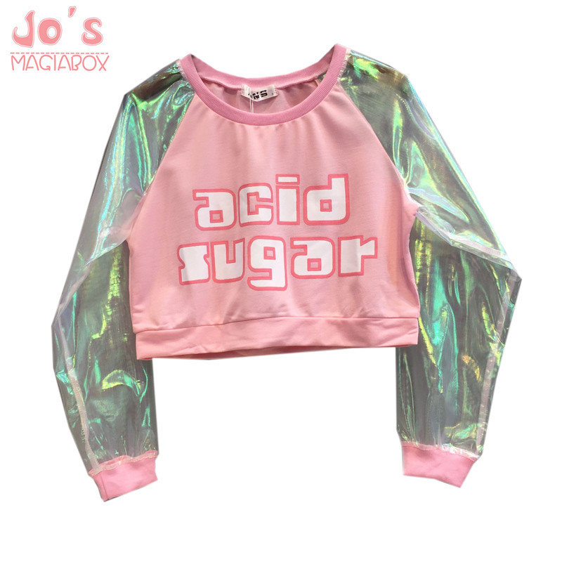 Laser Pink   T  -  shirt   Women Crop Top 2018 Transparent Ulzzang Harajuku Cute Cotton Funny Basic Tshirt Letters Printed For Women