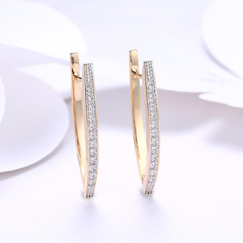 Visisap V Shape Shining Cubic Zirconia Hoop Øreringe For Kvinder - Mode smykker - Foto 4