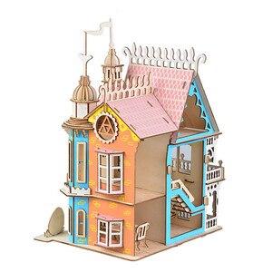 Image 3 - Drewniane lalki meble domowe zabawki DIY montaż domek dla lalek miniaturowy domek dla lalek dla dziewczynek prezenty dla dzieci puzzle zabawki
