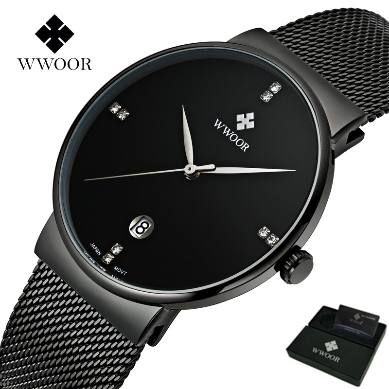 Men Watches Luxury Ultra Thin Date Clock Male 50M Waterproof Steel Strap Casual Sports Quartz Wrist Watch With Original Gift Box men watches top brand wwoor date clock male waterproof quartz watch men silver steel mesh strap luxury casual sports wrist watch