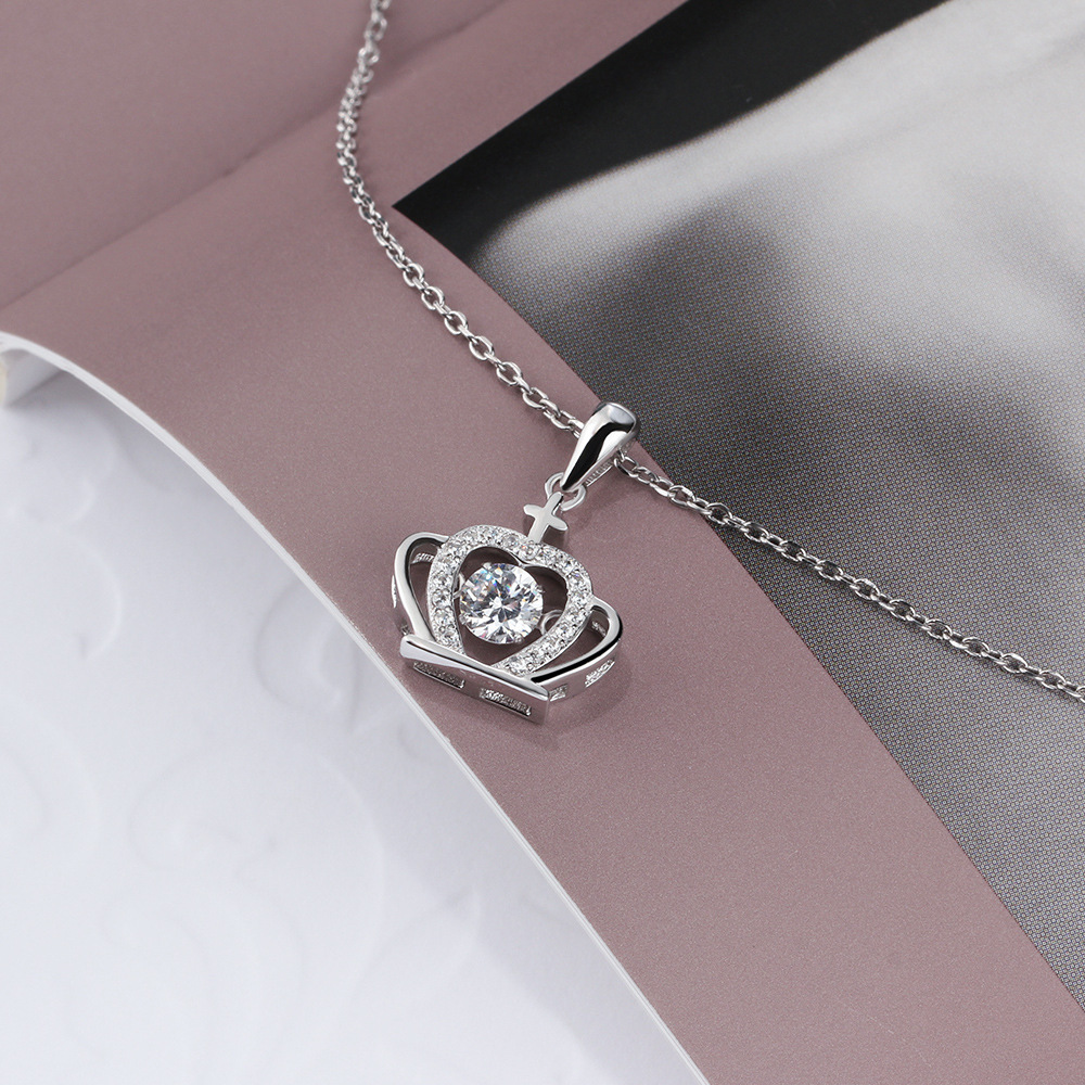 GUP24 femmes beaux bijoux, exquis couronne pendentif, super brillant 925 collier en argent sterling à bien-aimée reine