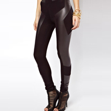 OtherLinks Hot Female Leggings Ladies PU Leather Patchwork Slim Fit Bodycon Skinny Stretch Street Style Fashion Leggings Women