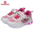QWEST/Фирменный светодиодный кожаный Носок, дышащая Спортивная обувь для детей, на липучке, Размер 23-29, детские кроссовки для девочек, 91K-KS-1232