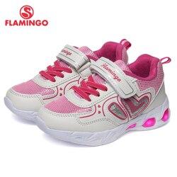 QWEST Merk LED Lederen Inlegzolen Ademend Boog Kinderen Sport Schoenen Klittenband Maat 23-29 Kids Sneaker voor meisje 91K-KS-1232
