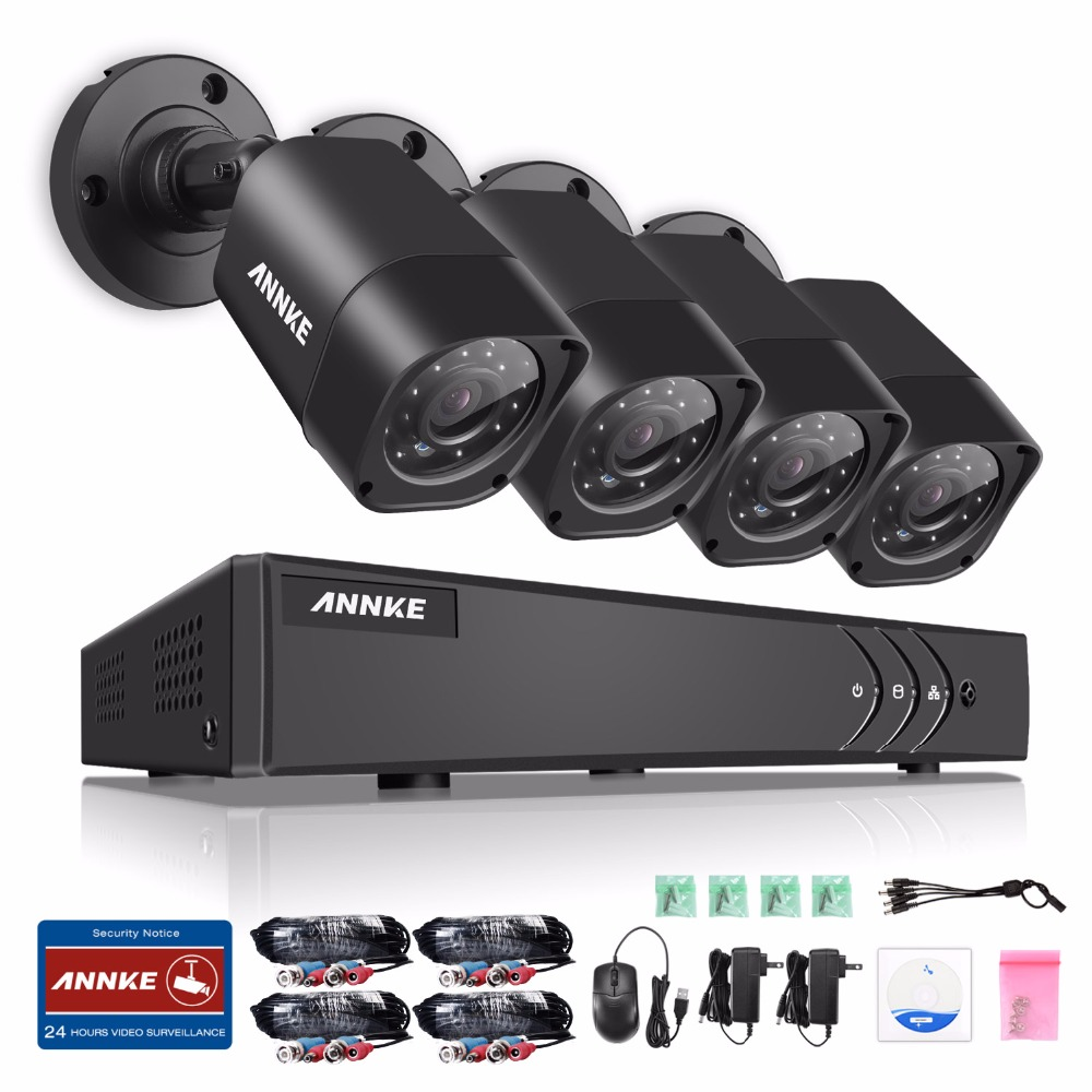 ANNKE 4CH 720P HD CCTV System 1080N DVR with 720P IR Outdoor Security Camera 4 channels