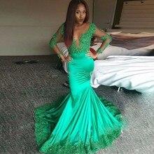 Wunderschöne grüne Meerjungfrau Abendkleider mit langen Ärmeln Spitze Appliques Abendkleid Vestido De Festa Longo Partei Kleid