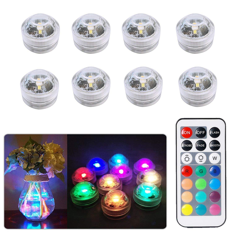 Xsky Battery Operated Waterproof Submersible Led Light RGB Night Lights For Wedding Holiday Party Vase Bowls Aquarium Decoration