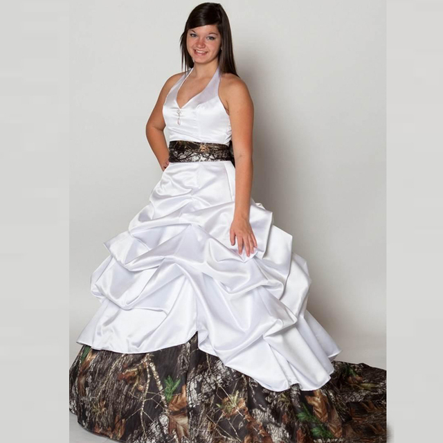 White Camo Wedding Dresses 2016 Belt Camouflage Court train Robe de mariage  Modest bridal gown f0788fec982b