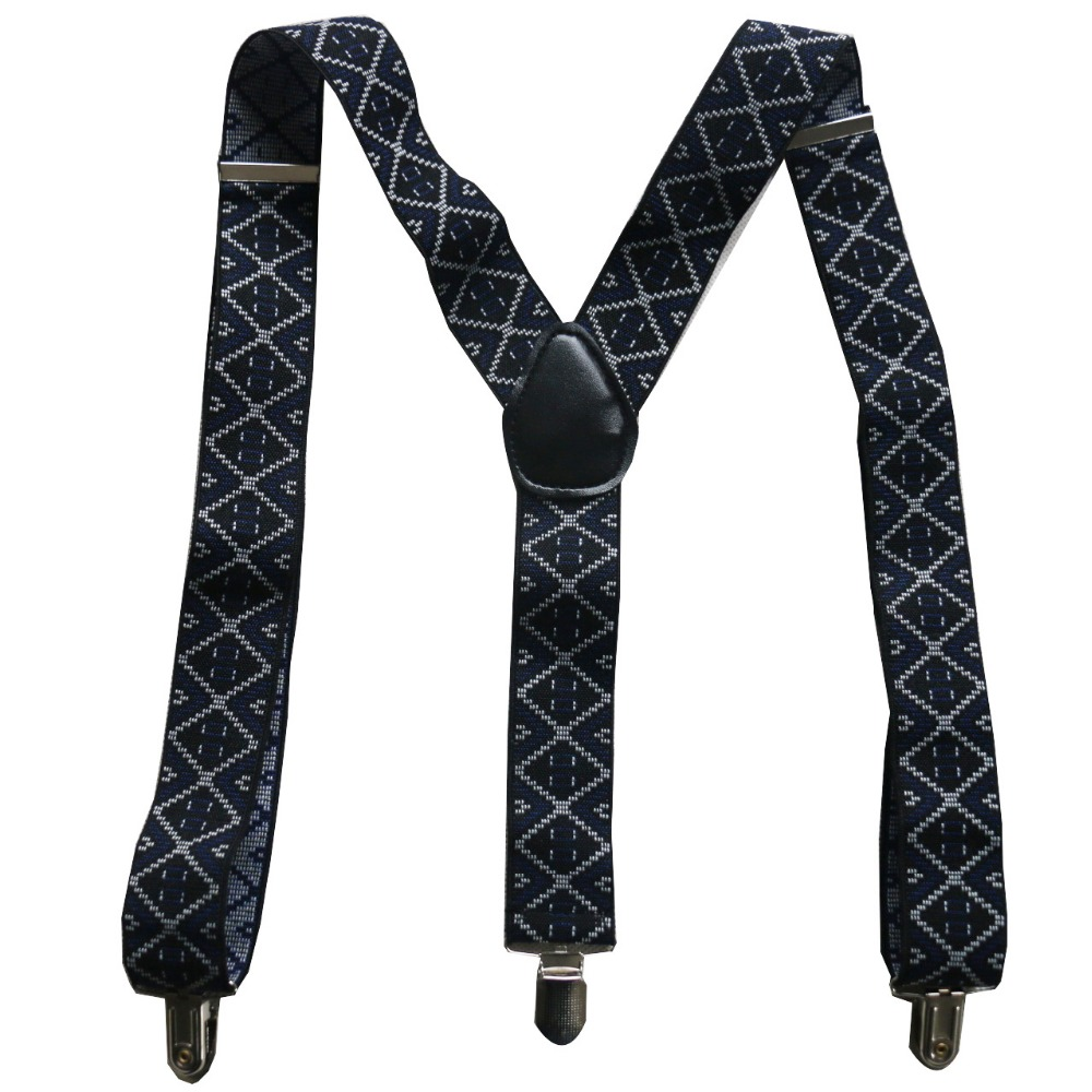 Free Shipping 2018 New 3.5cm Wide Men's Adjustable Clip On Jacquard Geometric Suspenders For Mens