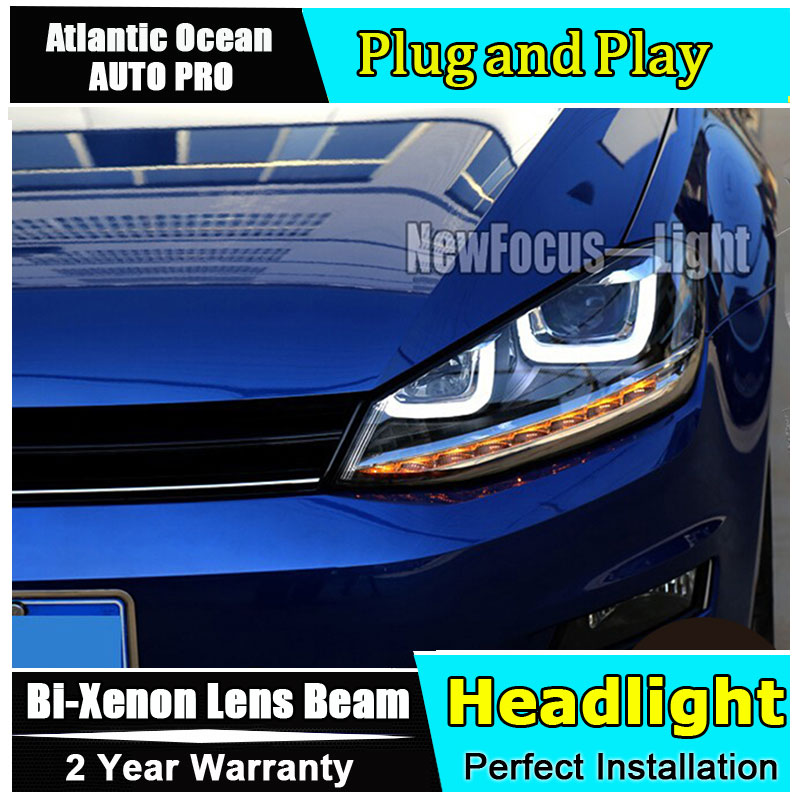 Auto Lighting Style LED Head Lamp for VW Golf 7 GTI R20 led headlights golf7 angel eye led drl HID KIT Bi-Xenon Lens low beam auto part style led head lamp for benz w163 ml320 ml280 ml350 ml430 2002 2005 led headlights drl hid bi xenon lens low beam