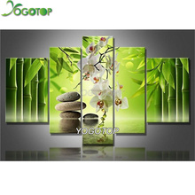 Diy Mosaic Diamond Painting Cross Stitch Square Diamond Set Unfinish Decorative Full Diamond Embroidery Orchid 5pcs/set VS366