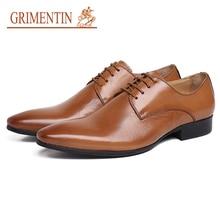 6c9d2f990 GRIMENTIN رجل الزفاف أحذية 2019 جديد جلد طبيعي العلامة التجارية الرجال  الرسمي أحذية عالية الجودة أسود براون orange الايطالية الأ.