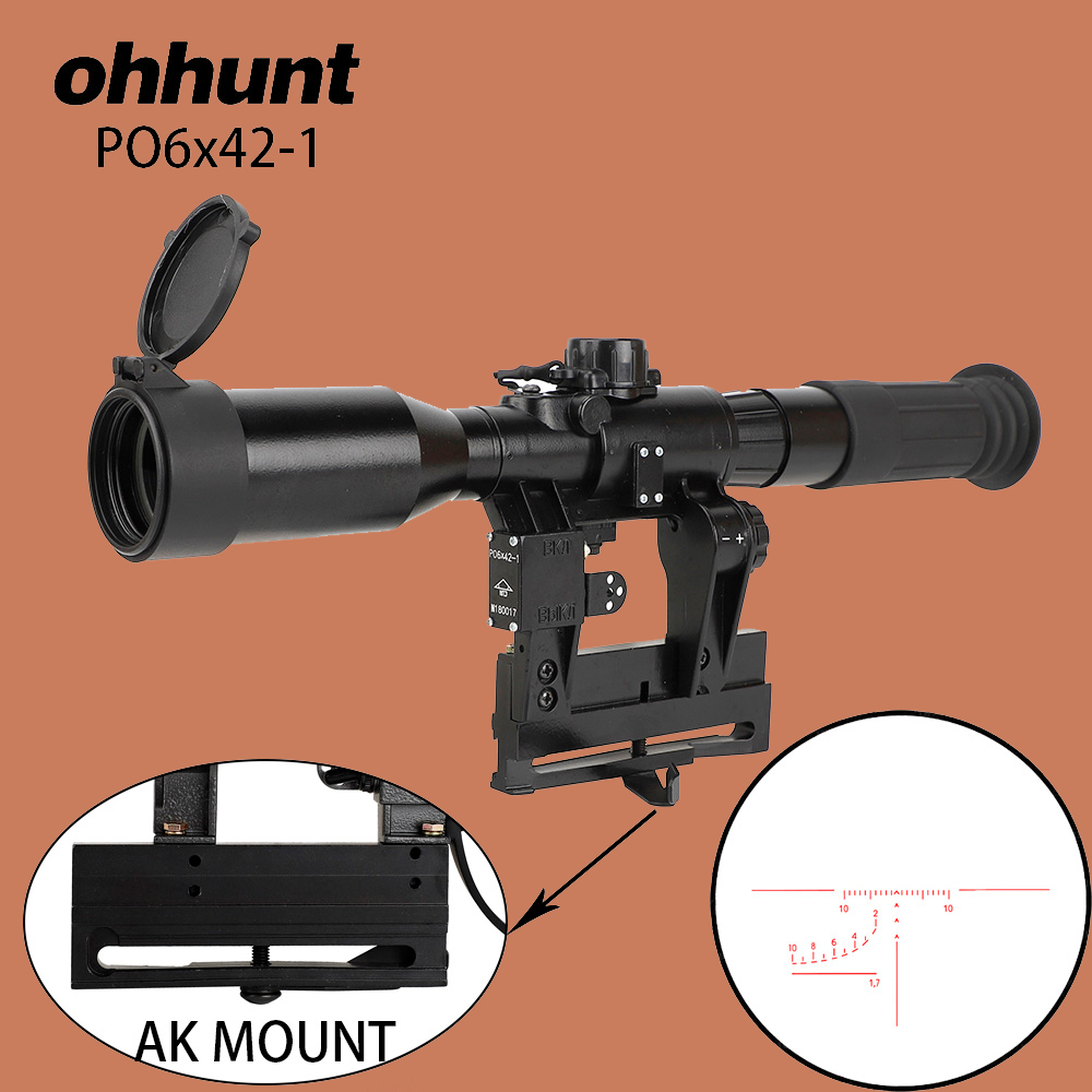 Ohhunt Hunting Riflescope SVD 6X42 E Red Illuminated Glass Etched Reticle Tactical Optical Sight Fits For AK AKM Saiga SLR Mount