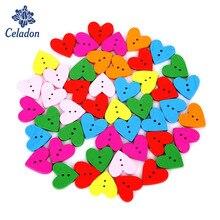 100pcs 19mm Mix Colors Heart Shape 2-Holes Wood Flatback DIY Wooden Buttons Sewing Craft Scrapbooking
