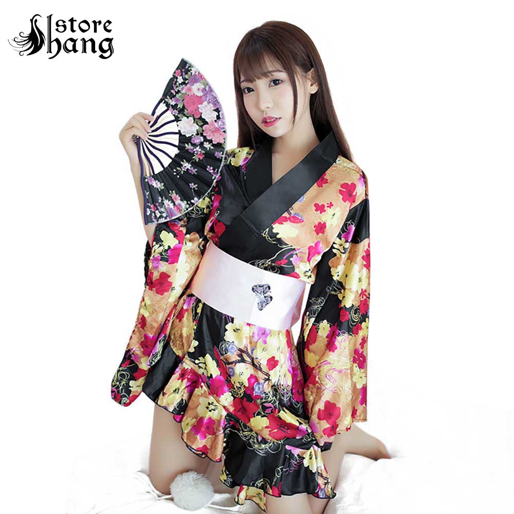 Women's Sexy Japanese Kimono Cosplay Costume Floral Print Deep V Lingerie Robe Side High Low Sleepwear Kimono Dress Night Wear