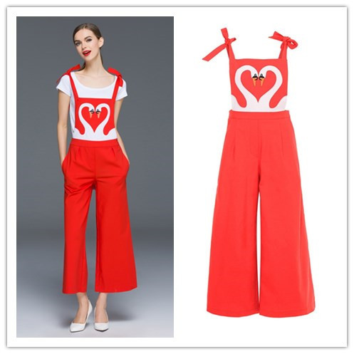 Hot New Fashion Jumpsuits Ladies 2016 Spring Summer Cute Swan Appliques Embroidery Pocket Design Casual Rompers Pant Overalls