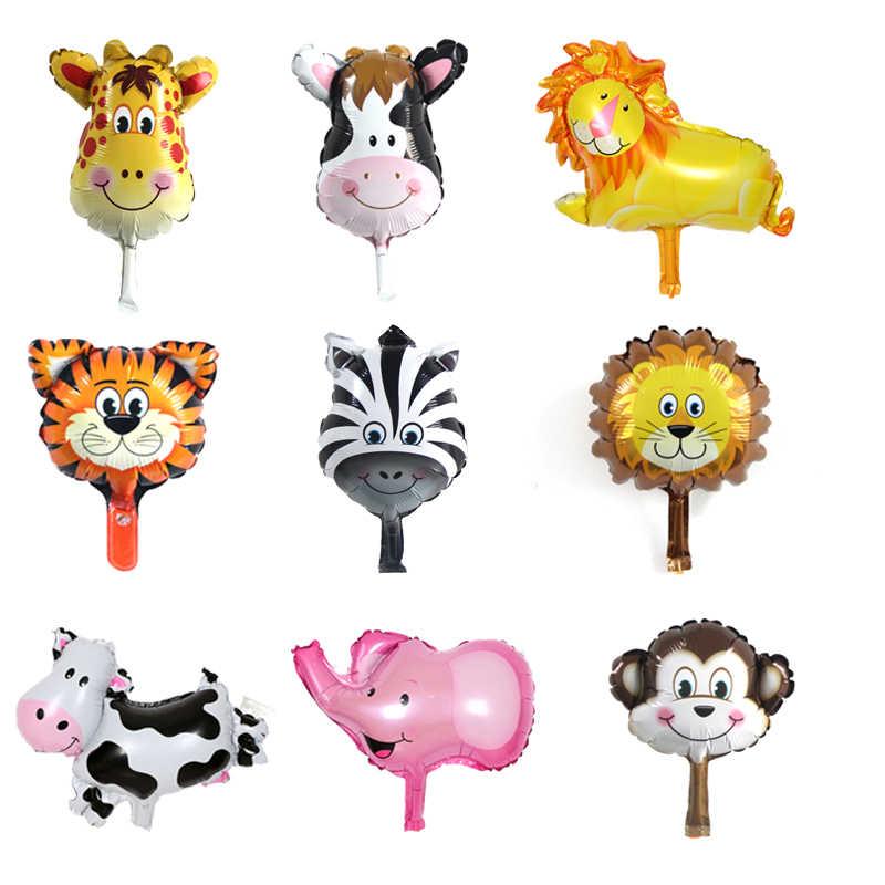 1pc 18 אינץ בעלי החיים ראש רדיד בלוני מיני נמר שועל צעצועי יום הולדת ילדי כדורי יד תינוק מקלחת ספקי צד
