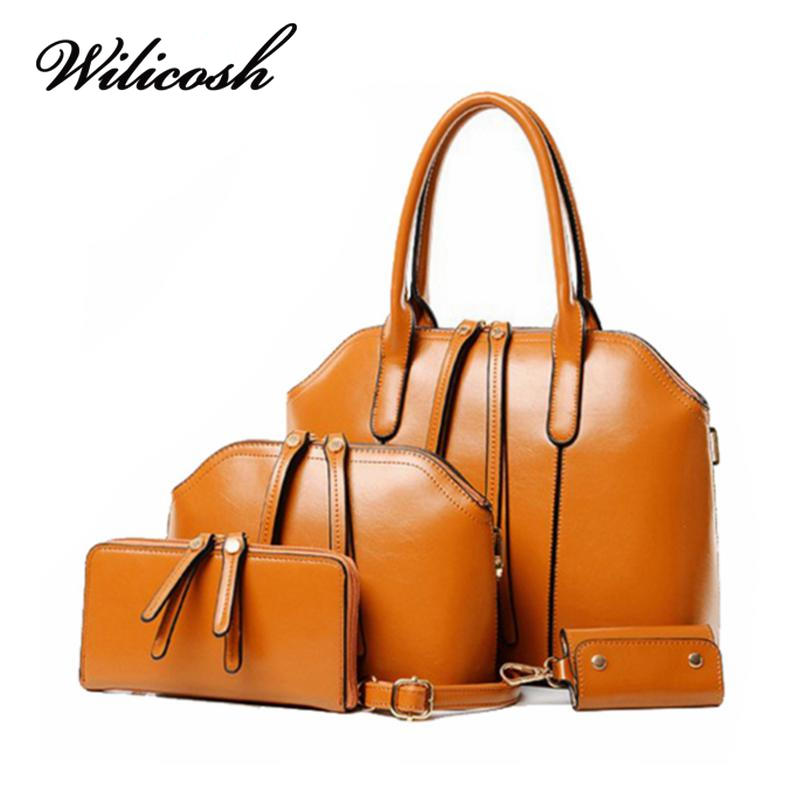 ФОТО Wilicosh News 4pcs/set Top-Handle Bag Sets Solid European Style Women Messenger Bags with Women's Purse Female Clutches HC293