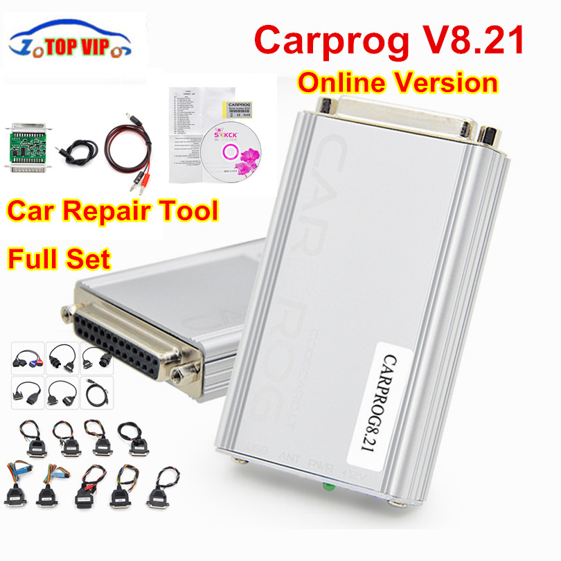все цены на Quality A+ Best Auto repair tool CARPROG V8.21 Online Version programmer 74hc125 chip car prog With 21 Adapters Free Shipping