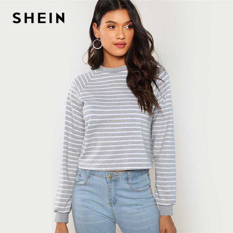 SHEIN Grey Minimalist Preppy Crop Striped Round Neck Casual Sweatshirt 2018 New Autumn Elegant Women Pullovers Sweatshirts