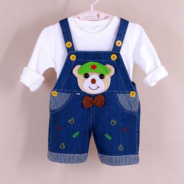 4269de579f4 9M-2T Baby Boys Jeans Overalls Shorts Toddler Kids Denim Rompers Cute  Cartoon Bebe Jumpsuit For Summer Bib Pants Clothes