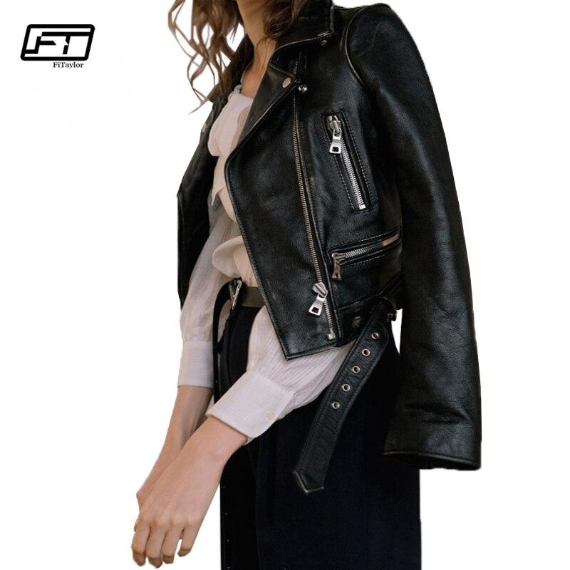 Fitaylor Women Faux   Leather   Biker Jacket Slim Black Soft Moto Jacket Punk Casual Outwear Street Elegant Jackets