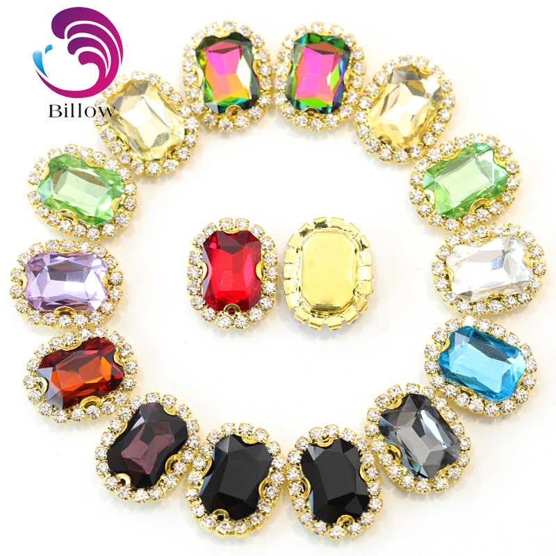 10 14mm 10pcs Rectangle Sew On Claw Rhinestone Gold Base Sewing Rhinestone  Button Glitter Strass 25e54ada2af7