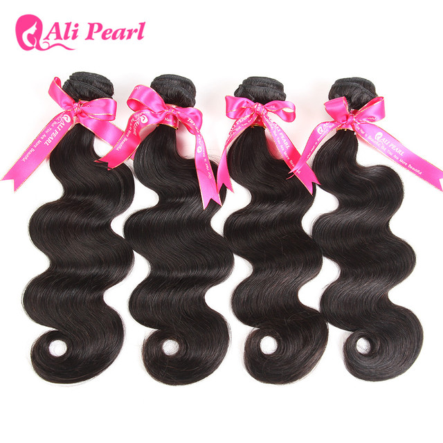 Ali Pearl Hair 100 Percents Human Hair Bundles Body Wave Peruvian Hair Weave 4 Bundles Natural Black Remy Hair Extensions Free Shipping by Ali Pearl