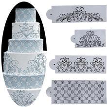 4 шт./компл. шаблон формы пластмассовый трафарет для торта кухонные принадлежности, приспособления для принцессы с кружевом и кекс печенье трафарет для мастики торт украшения набор инструментов
