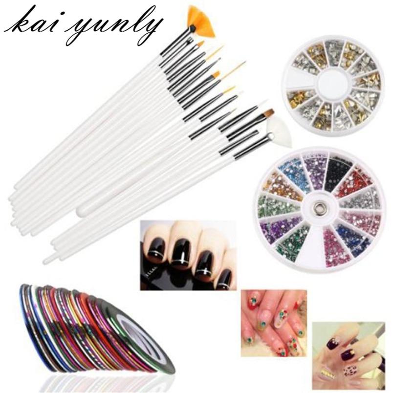 15PCS Nail Art Brushes+12 Colors Nail Art Stickers+30 Colors Nail Tape And 3D Nail Art Gold Silver Metal Studs Sep 30 наклейки для ногтей nail art stickers 30 3d oh11539