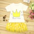 2 pcs/set princess baby girl sets Dots dress crown T-shirt infant set 100% Cotton lovely dresses Children clothes freeshipping
